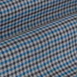 Germirli Mavi Gri Kareli Düğmeli Yaka Tailor Fit Gömlek - Thumbnail