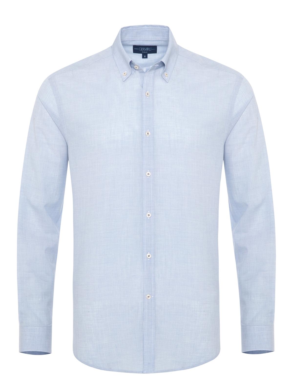 Germirli - Germirli Mavi İnce Kareli Düğmeli Yaka Tailor Fit Vual Gömlek