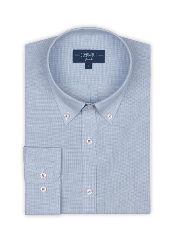 Germirli - Germirli Mavi İnce Kareli Düğmeli Yaka Tailor Fit Vual Gömlek (1)