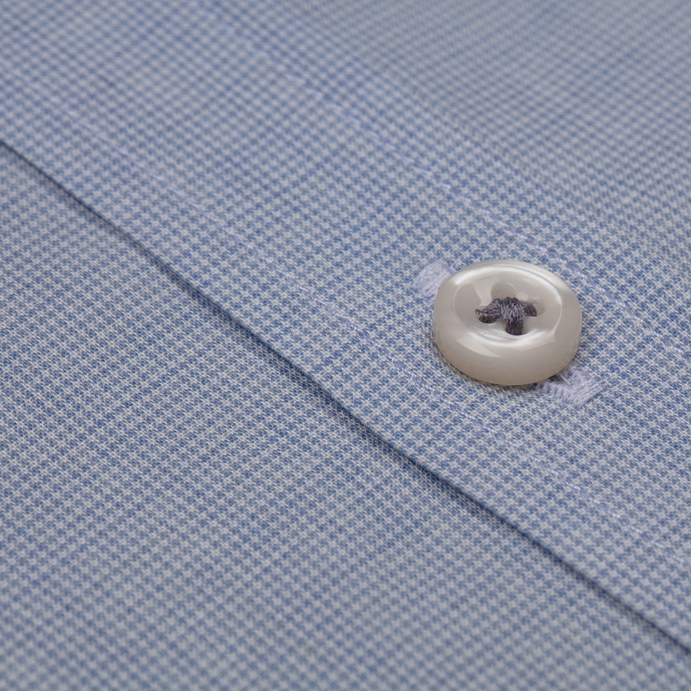 Germirli Mavi İnce Kareli Düğmeli Yaka Tailor Fit Vual Gömlek
