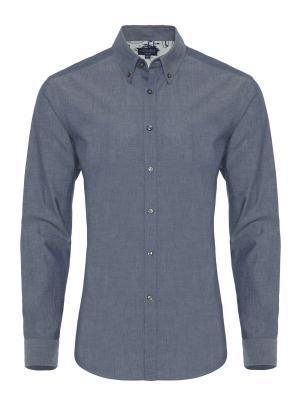 Germirli - Germirli Mavi İndigo Düğmeli Yaka Tailor Fit Gömlek