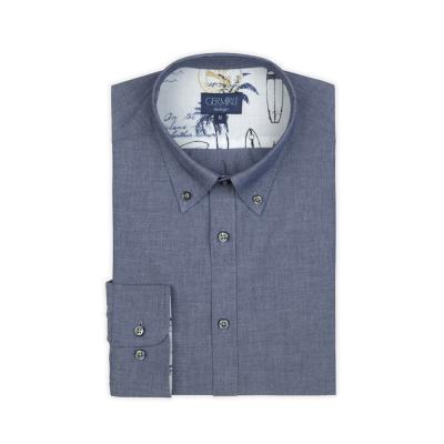 Germirli - Germirli Mavi İndigo Düğmeli Yaka Tailor Fit Gömlek (1)
