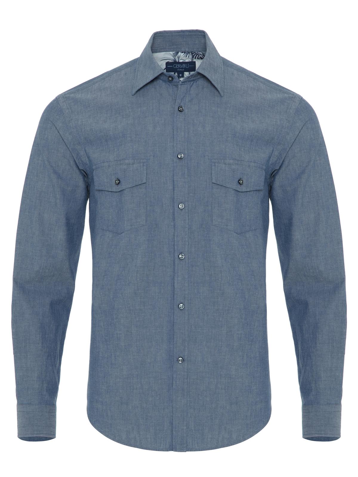 Germirli - Germirli Mavi İndigo Palmiye Detaylı Cepli Overshirt Tailor Fit Gömlek