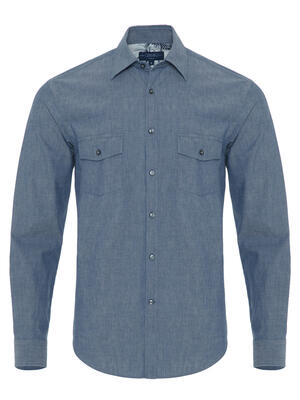 Germirli - Germirli Blue Indigo Tailor Fit Overshirt with Pockets and Palm Tree Details