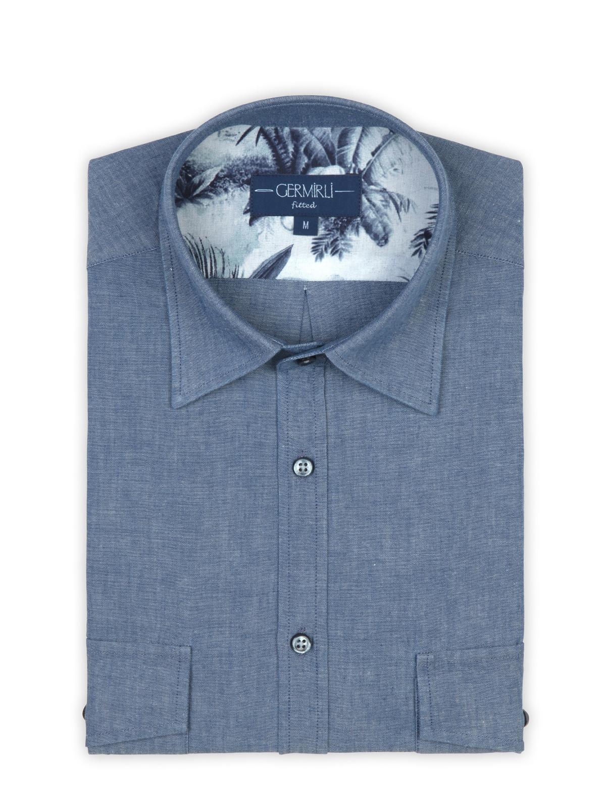 Germirli Mavi İndigo Palmiye Detaylı Cepli Overshirt Tailor Fit Gömlek
