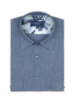 Germirli - Germirli Blue Indigo Tailor Fit Overshirt with Pockets and Palm Tree Details (1)