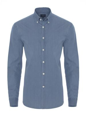 Germirli - Germirli Mavi İndigo Tailor Fit Gömlek