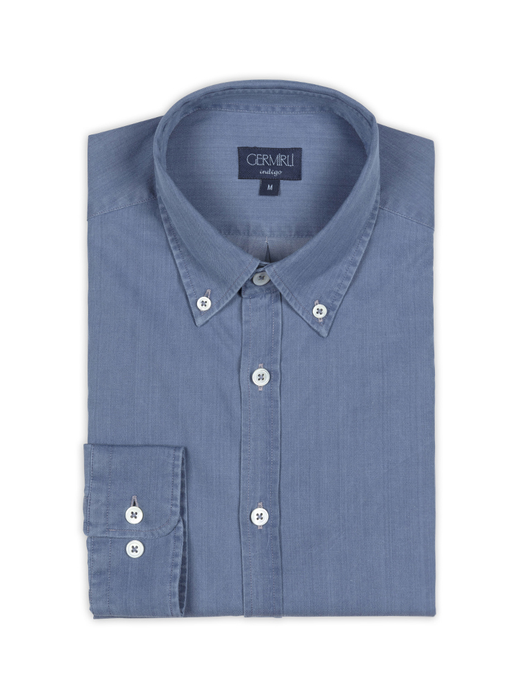 Germirli Mavi Twill İndigo Tailor Fit Gömlek