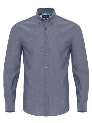 Germirli - Germirli Mavi İndigo Tropical Detaylı Düğmeli Yaka Tailor Fit Gömlek