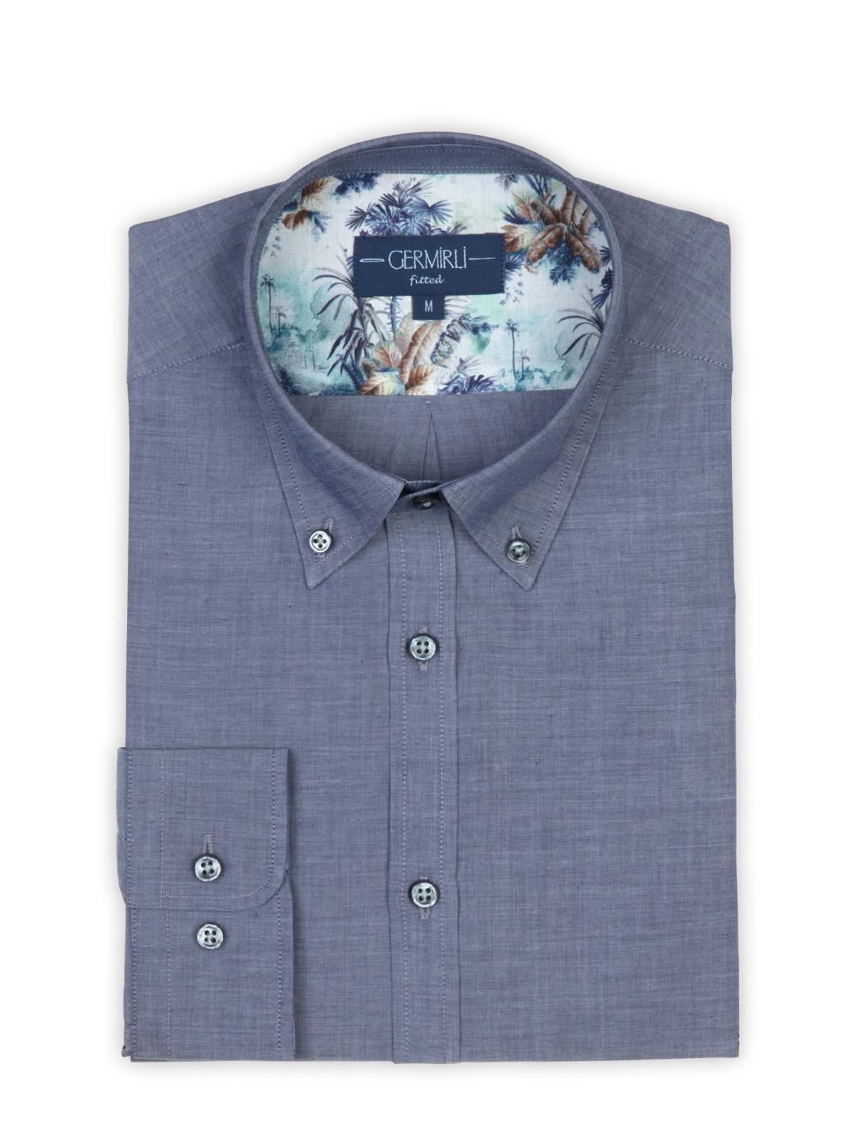 Germirli Mavi İndigo Tropical Detaylı Düğmeli Yaka Tailor Fit Gömlek