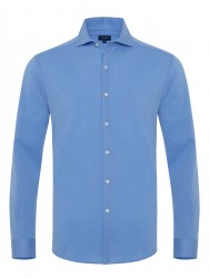 Germirli - Germirli Mavi Italyan Yaka Örme Slim Fit Gömlek