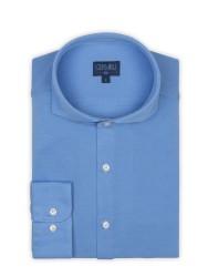 Germirli - Germirli Mavi Italyan Yaka Örme Slim Fit Gömlek (1)