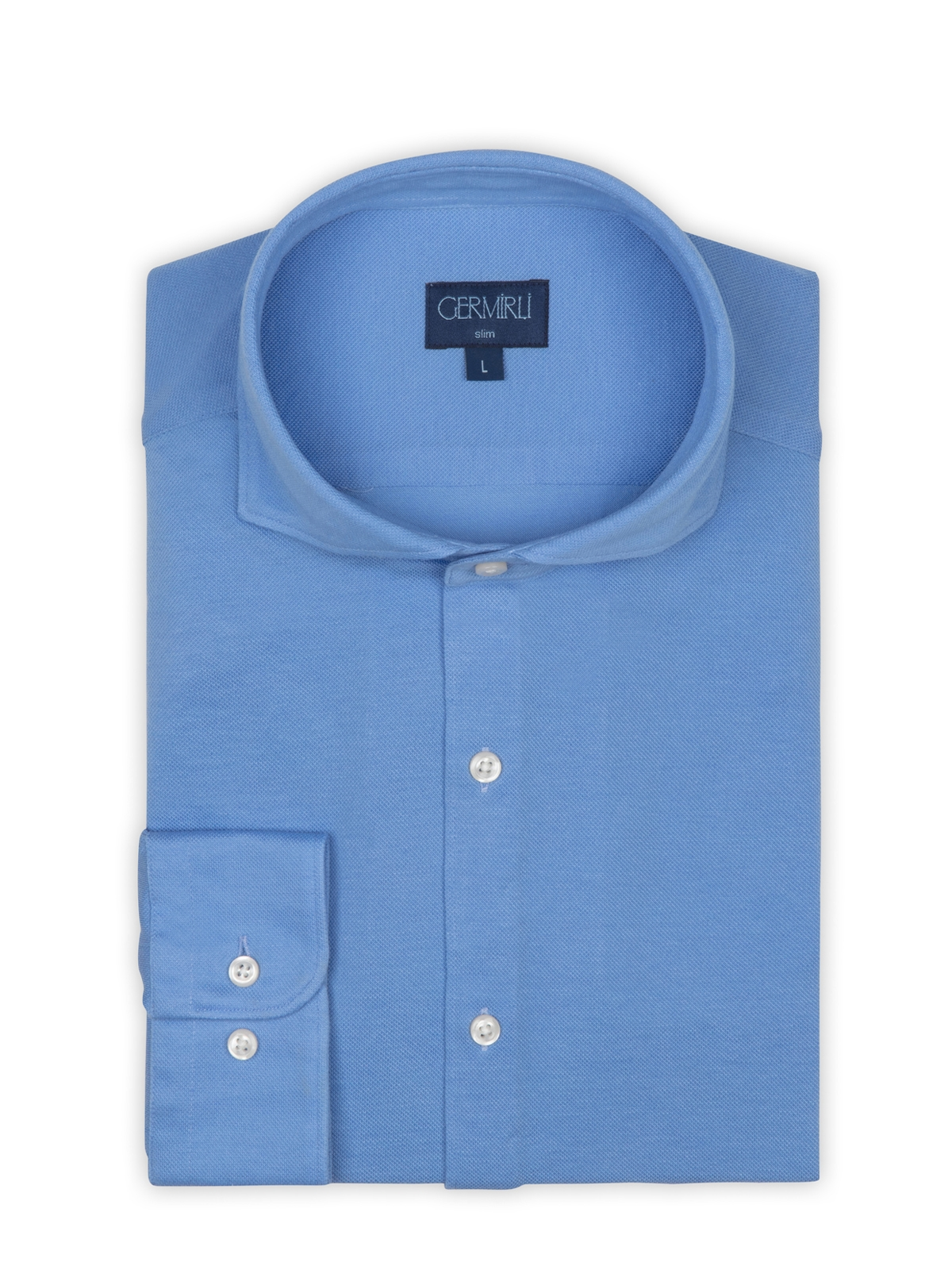 Germirli Mavi Italyan Yaka Örme Slim Fit Gömlek