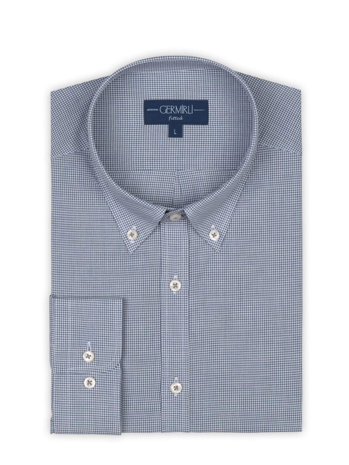 Germirli Mavi Kareli Düğmeli Yaka Tailor Fit Vual Gömlek