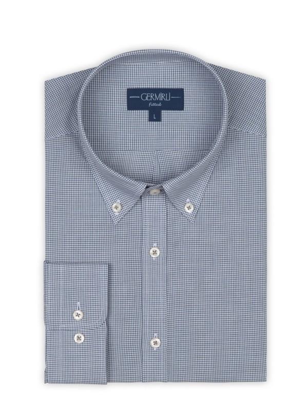 Germirli - Germirli Mavi Kareli Düğmeli Yaka Tailor Fit Vual Gömlek (1)