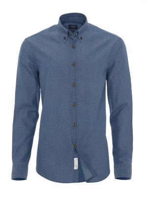 Germirli - Germirli Mavi Kareli İndigoTailor Fit Gömlek