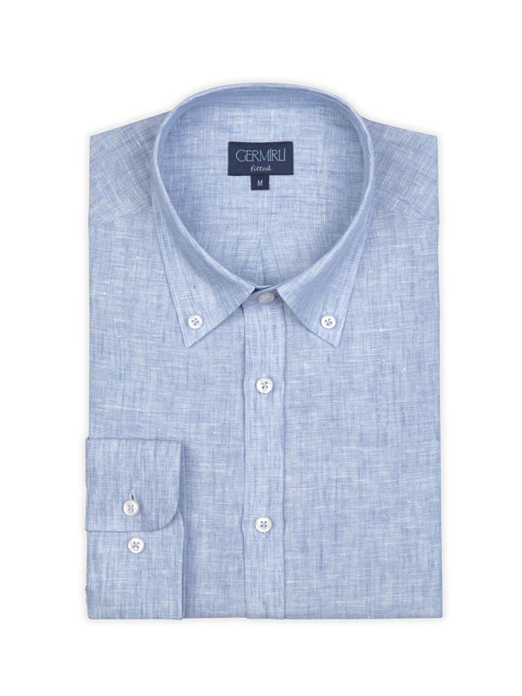 Germirli Mavi Keten Düğmeli Yaka Tailor Fit Gömlek
