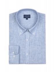 Germirli Mavi Keten Düğmeli Yaka Tailor Fit Gömlek - Thumbnail