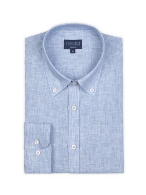 Germirli - Germirli Mavi Keten Düğmeli Yaka Tailor Fit Gömlek (1)
