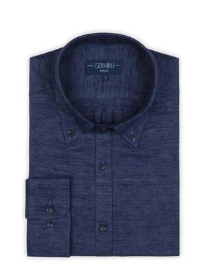 Germirli - Germirli Mavi Keten Flanel Doku Düğmeli Yaka Tailor Fit Gömlek (1)