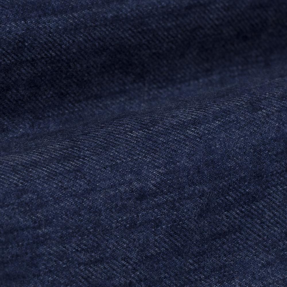 Germirli Mavi Keten Flanel Doku Düğmeli Yaka Tailor Fit Gömlek