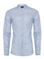 Germirli - Germirli Mavi Keten Hakim Yaka Tailor Fit Gömlek