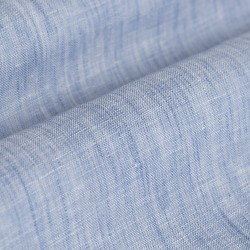 Germirli Mavi Keten Hakim Yaka Tailor Fit Gömlek - Thumbnail