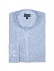 Germirli - Germirli Mavi Keten Hakim Yaka Tailor Fit Gömlek (1)