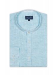 Germirli - Germirli A.Mavi Keten Hakim Yaka Tailor Fit Gömlek (1)