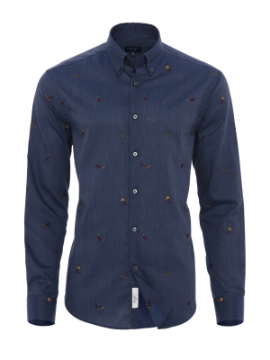 Germirli - Germirli Mavi Kızak Nakışlı Tailor Fit Gömlek