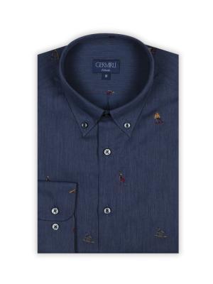 Germirli - Germirli Mavi Kızak Nakışlı Tailor Fit Gömlek (1)