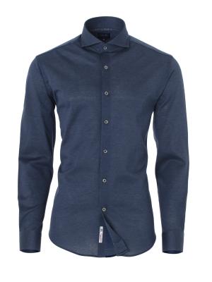 Germirli - Germirli Mavi KlasikYaka Örme Slim Fit Gömlek