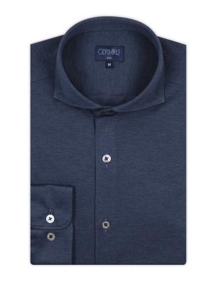 Germirli - Germirli Mavi KlasikYaka Örme Slim Fit Gömlek (1)