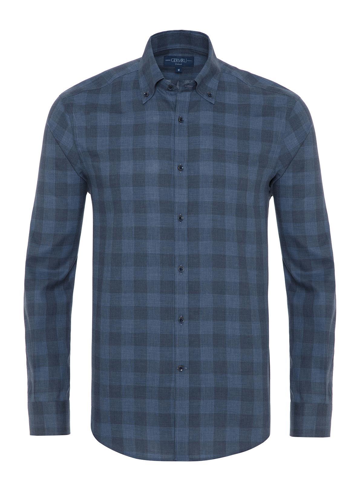 Germirli - Germirli Mavi Koyu Mavi Kareli Düğmeli Yaka Tailor Fit Gömlek