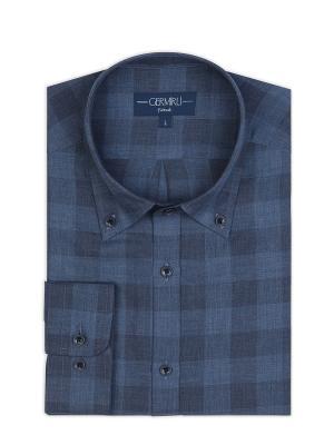 Germirli - Germirli Mavi Koyu Mavi Kareli Düğmeli Yaka Tailor Fit Gömlek (1)