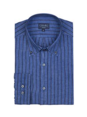 Germirli - Germirli Mavi Laci Çizgili Delave Keten Düğmeli Yaka Tailor Fit Gömlek (1)