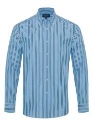 Germirli - Germirli Mavi Laci Çizgili Düğmeli Yaka Tailor Fit Gömlek