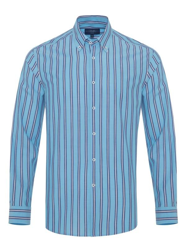 Germirli Mavi Laci Çizgili Düğmeli Yaka Tailor Fit Gömlek