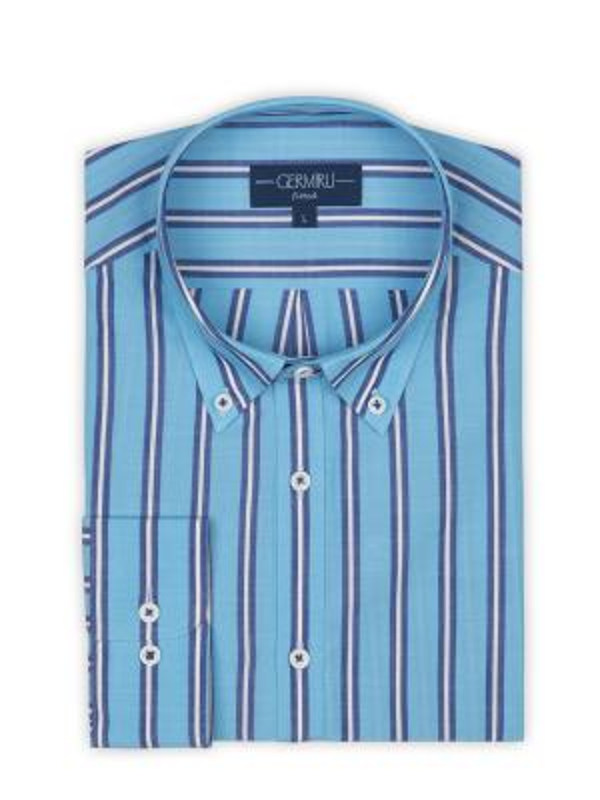 Germirli - Germirli Mavi Laci Çizgili Düğmeli Yaka Tailor Fit Gömlek (1)