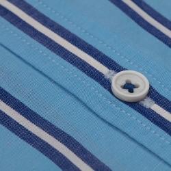 Germirli Mavi Laci Çizgili Düğmeli Yaka Tailor Fit Gömlek - Thumbnail