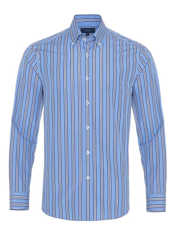 Germirli - Germirli Mavi Lacivert Beyaz Çizgili Düğmeli Yaka Tailor Fit Gömlek