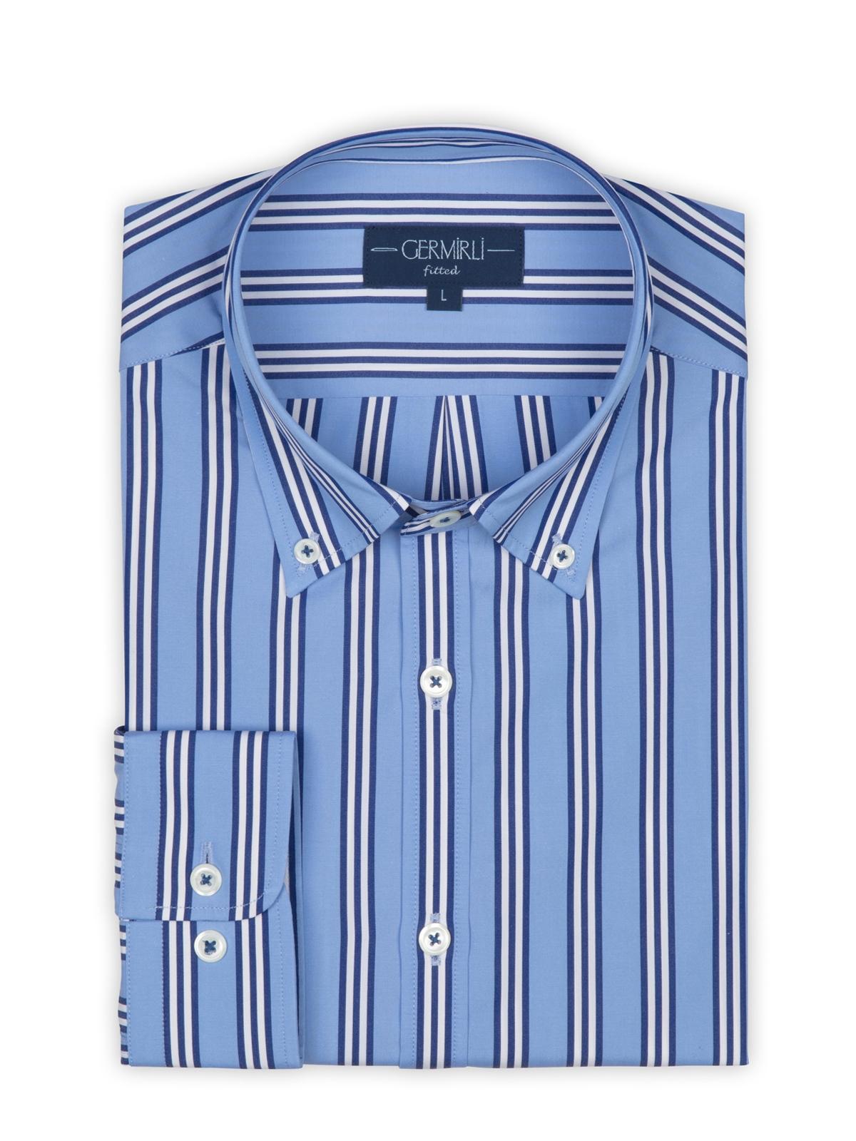 Germirli Mavi Lacivert Beyaz Çizgili Düğmeli Yaka Tailor Fit Gömlek
