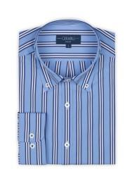 Germirli Mavi Lacivert Beyaz Çizgili Düğmeli Yaka Tailor Fit Gömlek - Thumbnail