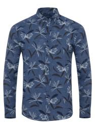 Germirli - Germirli Mavi Lacivert Çiçek Desen Delave Keten Düğmeli Yaka Tailor Fit Gömlek