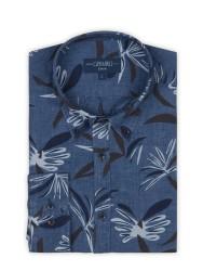 Germirli - Germirli Mavi Lacivert Çiçek Desen Delave Keten Düğmeli Yaka Tailor Fit Gömlek (1)