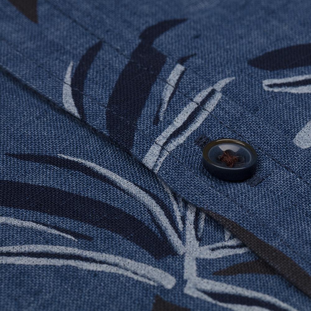 Germirli Mavi Lacivert Çiçek Desen Delave Keten Düğmeli Yaka Tailor Fit Gömlek