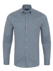 Germirli - Germirli Mavi Lacivert Kareli Düğmeli Yaka Flanel Tailor Fit Gömlek