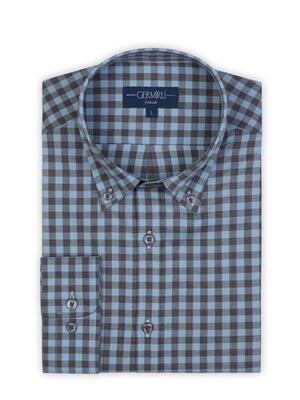 Germirli - Germirli Mavi Lacivert Kareli Düğmeli Yaka Flanel Tailor Fit Gömlek (1)