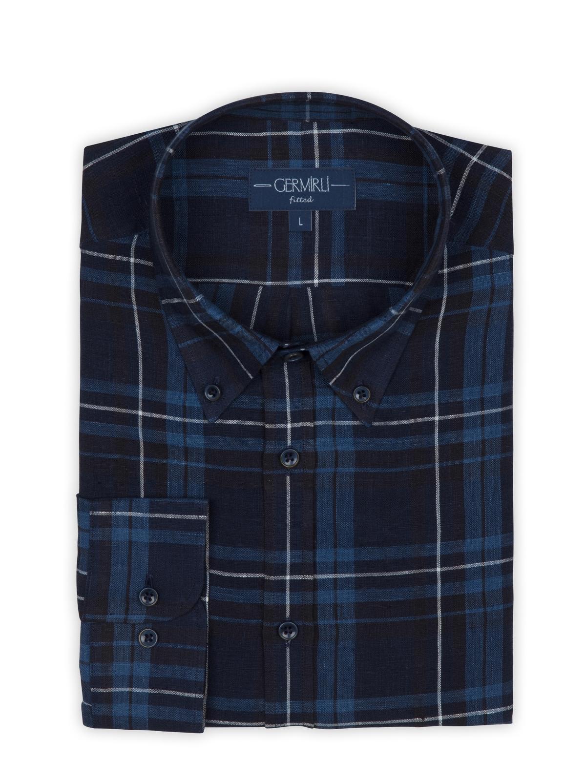 Germirli Mavi Lacivert Kareli Indigo Keten Düğmeli Yaka Tailor Fit Gömlek