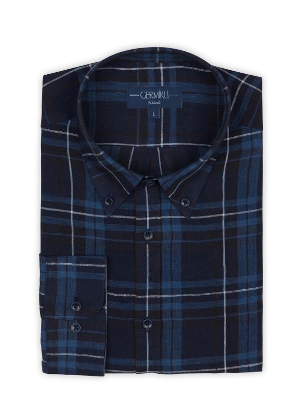 Germirli - Germirli Mavi Lacivert Kareli Indigo Keten Düğmeli Yaka Tailor Fit Gömlek (1)